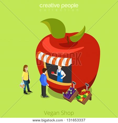 Vegan shop greengrocery apple shape building realty real estate concept. Flat 3d isometry isometric style web site app icon set concept vector illustration. Creative people collection.