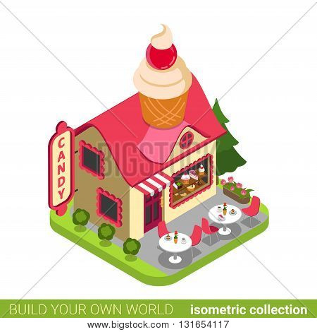 Confectionery candy shop cupcake shape building cafe restaurant realty real estate concept. Flat 3d isometry isometric style web site icon concept vector illustration. Build your own world collection.