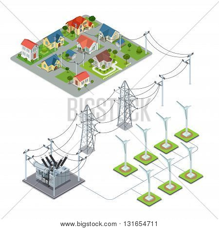 Wind energy propeller green village power supply cycle infographics concept. Flat 3d isometry isometric style web site vector illustration. Ecology eco power lifestyle sustainable world collection