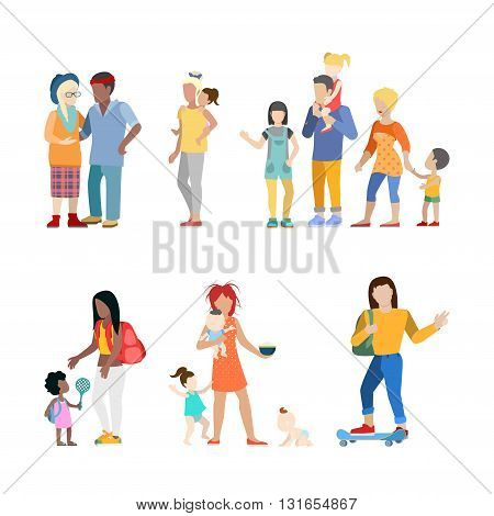 Active family urban young people parents parenting nursing babysitting babysitter couple flat web infographic concept vector icon set. Creative people collection.