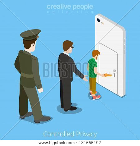 Controlled privacy device access concept. Flat 3d isometry isometric style web site vector illustration. Military man security officer staying behind user smartphone door. Creative people collection. poster