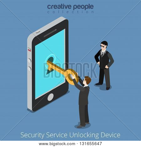 Security Service Unlocking Device. Special agents taking universal clue to smartphone. Flat 3d isometry isometric style web site app icon set concept vector illustration. Creative people collection.