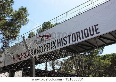 Monte-Carlo Monaco - April 28 2016: Red and White Monaco Grand Prix Historique Signboard in Monte-Carlo Monaco