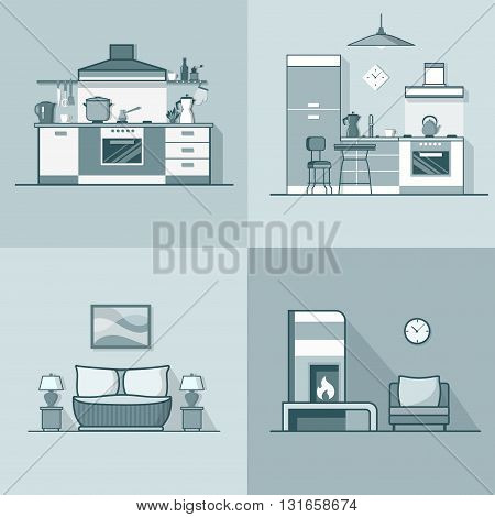 Condo accommodation kitchen bedroom living room interior indoor set. Linear stroke outline flat style vector icons. Monochrome icon collection.