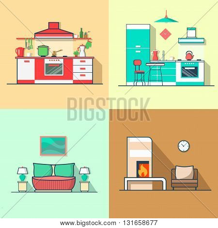 Condo accommodation kitchen bedroom living room interior indoor set. Linear multicolor stroke outline flat style vector icons. Color icon collection.