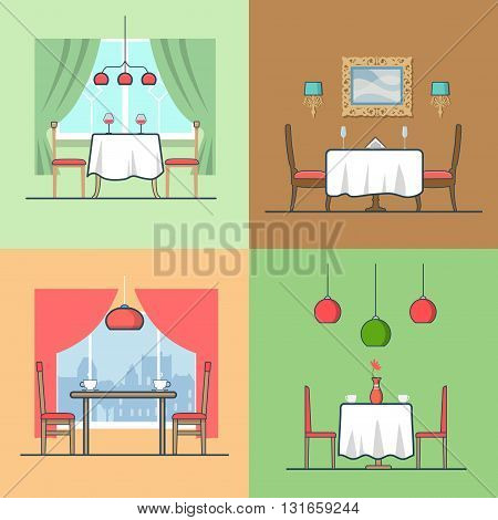Restaurant cafe condo accommodation dining room cosy modern interior indoor set. Linear stroke outline flat style vector icons. Color table stool chair wine coffee diner icon collection.