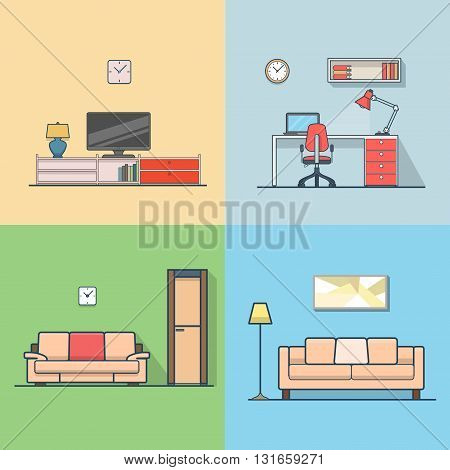 Condo accommodation living room cosy modern minimalism minimal interior indoor set. Linear stroke outline flat style vector icons. Color TV set cabinet shelf stand sofa workplace icon collection.