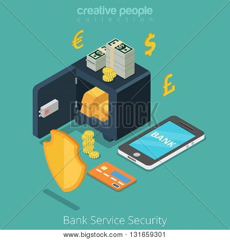 Bank Service Security mobile safe anti fraud banking concept. Money currency coin shield credit card currency. Flat 3d isometric isometry conceptual web site vector illustration.