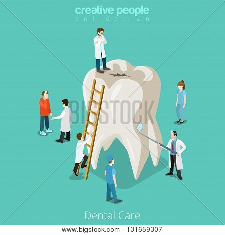 Dental Care micro dentist patient people and huge tooth healthcare concept. Flat 3d isometric isometry vector web site illustration. Creative people collection. poster