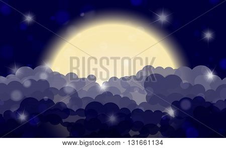 Cartoon Night Shining Cloudy Sky With Moon. Vector Illustration