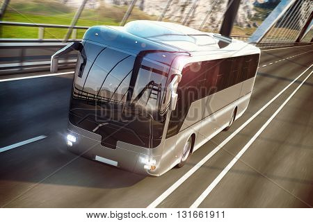 Realistic image of grey bus with headlights on the road. Business Travel Concept. Road bridge 3D rendering
