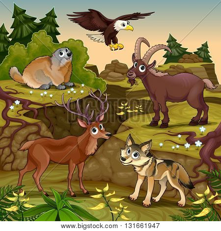 Cartoon animals, deer, eagle, groundhog, steinbock, wolf with landscape. Vector cartoon illustration.