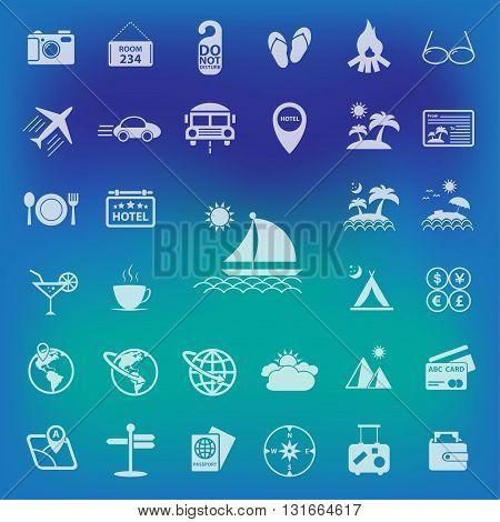 Travel icons set.On Blur Background . vector illustration.