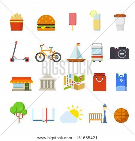 City navigation travel web app vector icons: restaurant map tram