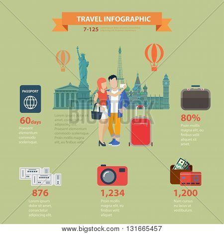 Travel vacation flat vector infographics visa passport ticket