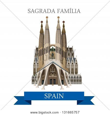 Sagrada Familia Gaudi Basilica Barcelona Spain flat vector sight