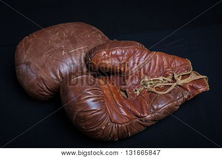 Vintage leather boxing gloves circa 1920.