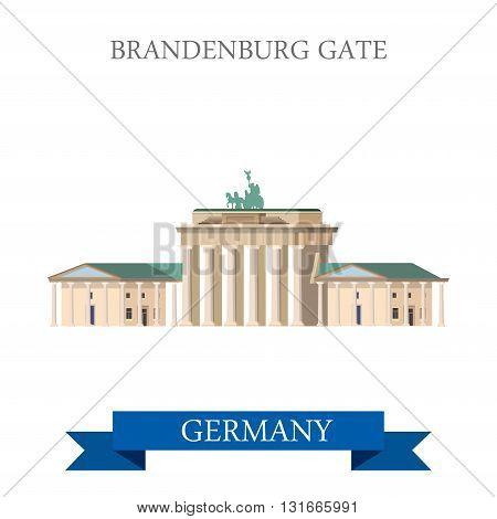 Brandenburg Gate Berlin Germany flat vector attraction landmark