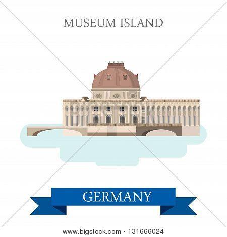 Museum Island Berlin Germany flat vector attraction landmark