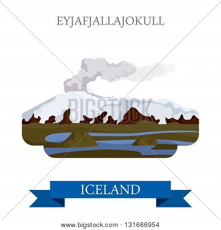 Eyjafjallajokull volcano Iceland flat vector attraction sight