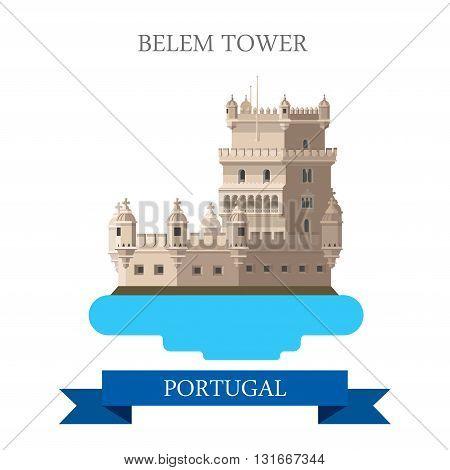 Belem Tower Lisbon Portugal Europe flat vector attraction sight