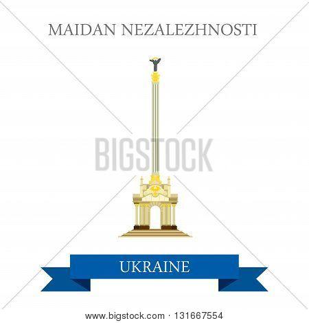 Maidan Nezalezhnosti Kyiv Kiev Ukraine flat vector landmark
