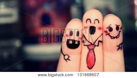 Finger art of people. The concept of a group of friends with different personalities.