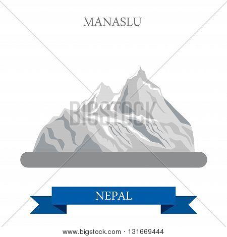 Manaslu Mountain Nepal vector flat attraction travel landmarks