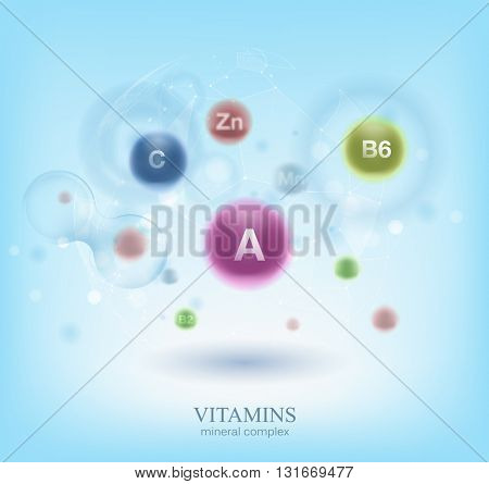 Medical vitamins and cell background.