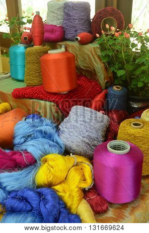 Coils of silk thread, Several threads of different colors and sizes
