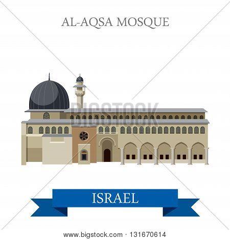 Al-Aqsa Mosque Israel vector flat attraction landmarks