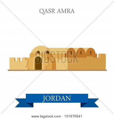 Qasr Amra in Jordan vector flat attraction landmarks