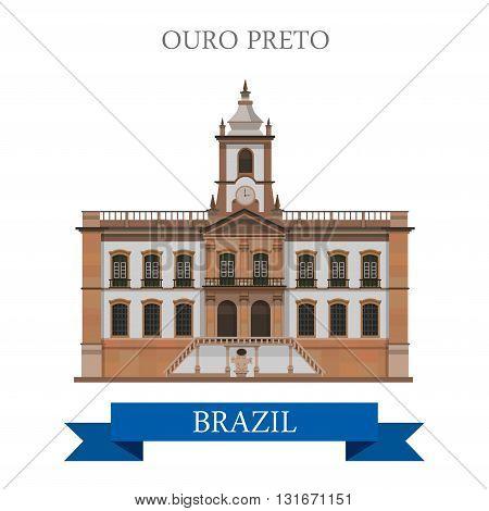Ouro Preto in Brazil vector flat attraction landmarks