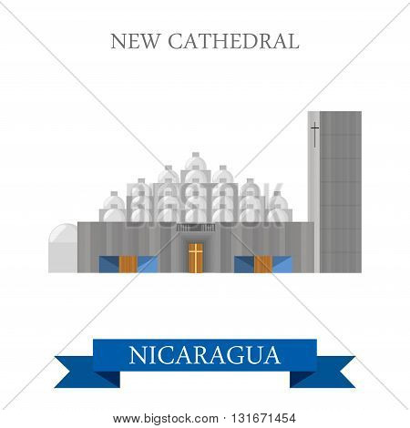 New Cathedral Managua Nicaragua vector flat attraction landmark