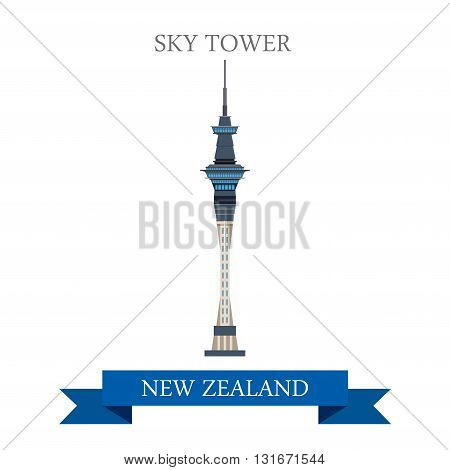 Sky Tower Auckland New Zealand vector flat attraction landmarks