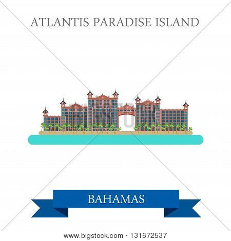 Atlantis Paradise Island Bahamas vector flat attraction landmark