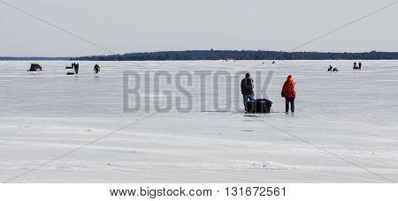 Ice Fishing On Higgins Lake