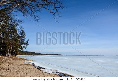 Higgins Lake In Winter