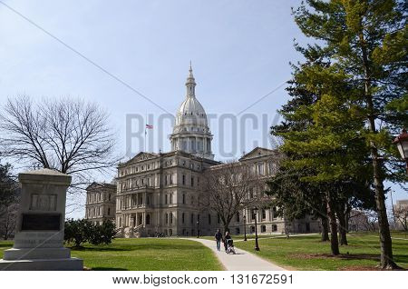 Lansing Capitol Side View With Family