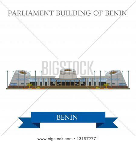 Parliament Building Benin vector flat Africa attraction landmark
