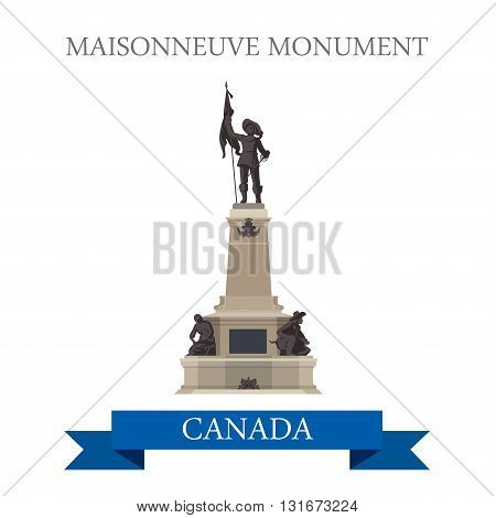 Maisonneuve Monument in Montreal Canada vector flat attraction