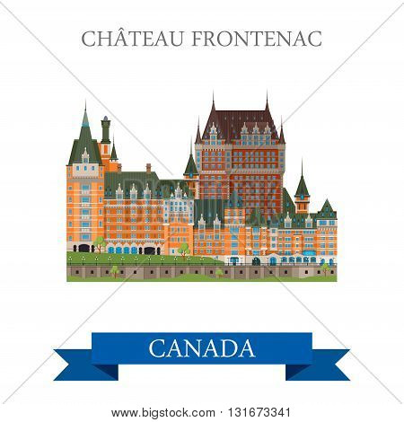 Chateau Frontenac Quebec Canada vector flat attraction landmarks