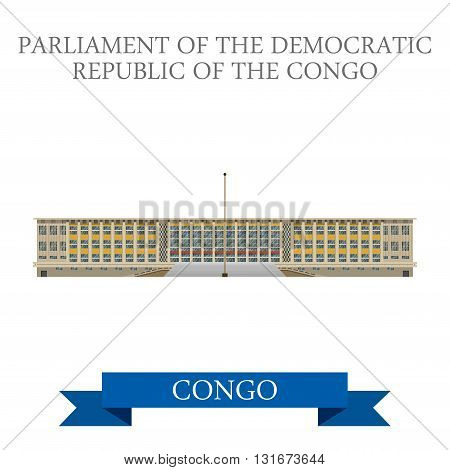 Parliament of Democratic Republic Congo vector flat attraction