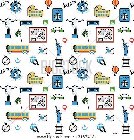 World famous places sightseeing flat vector pattern background