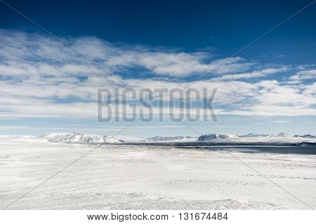Snowy Winter Landscape At Pingvellir, Southern Iceland