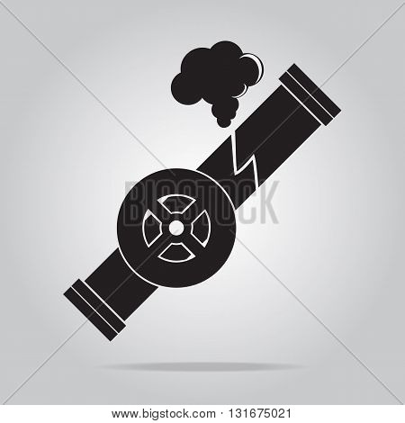 Gas leak pipe icon. Polution Gas Pipe icon sign vector illustration