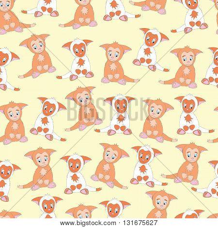Background ittle cute animal kitten. Background cartoon, shy, sad animal kitty. Background kitten with big ears. Background pattern orange animal kitten.