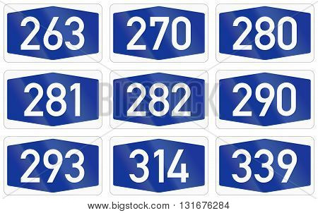 Collection Of Numbered Highway Shields Of German Autobahn System