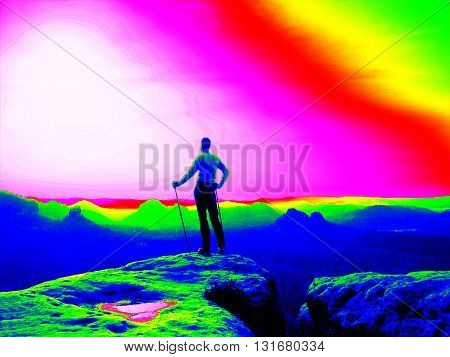 Fantastic Infrared Scan. Tourist With Poles. Thermography Colors