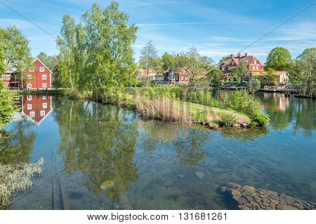 Motala river during spring in Borensberg, Sweden. The river drains Lake Vattern into the Baltic sea.